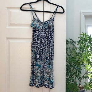 Navy Blue and Teal Patterned Dress